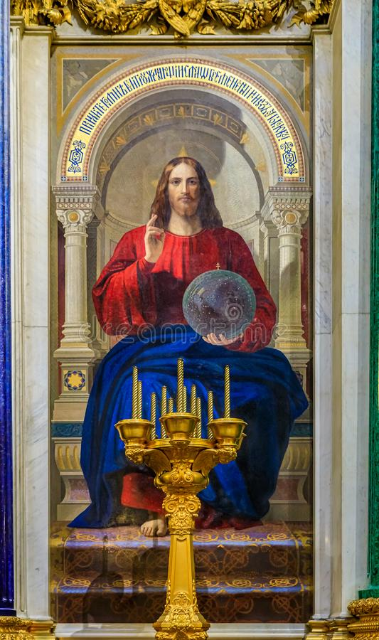 Bunte Mosaikikone von Jesus Christ im Heiligen Isaac' russische orthodoxe Kathedrale s in St Petersburg, Russland lizenzfreies stockfoto
