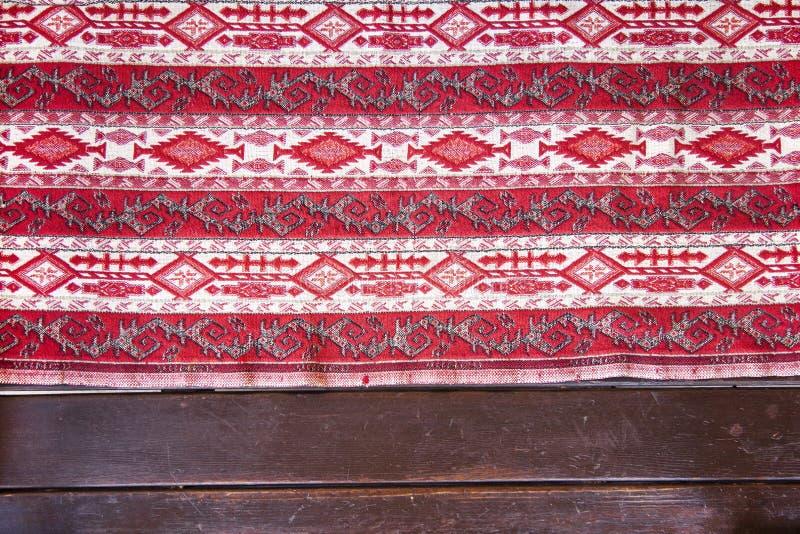 Bunte Mosaikorientale-kilim Wolldecke mit traditioneller geometrischer Volksverzierung Kopierter Teppich mit einem Grenzrahmen lizenzfreie stockfotos