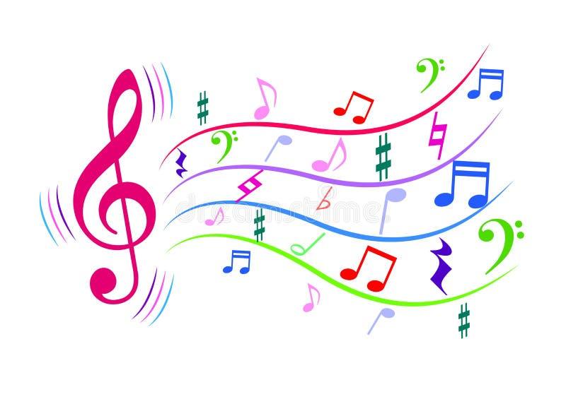 Bunte Musikanmerkungen lizenzfreie abbildung