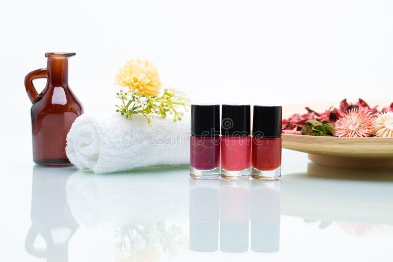 Bunte Nagellacke und Trockenblumen lizenzfreies stockbild