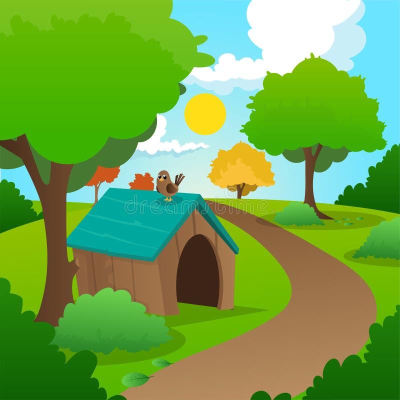 Bunte Naturlandschaft mit grünem Gras, Bäumen, Büschen und hölzernem Haus des Hund s Sonniger Sommerhintergrund mit blauem Himmel vektor abbildung