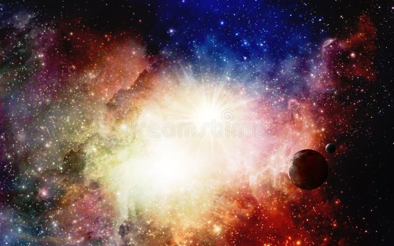 Bunte Nebelflecke und Supernova mit Planeten vektor abbildung