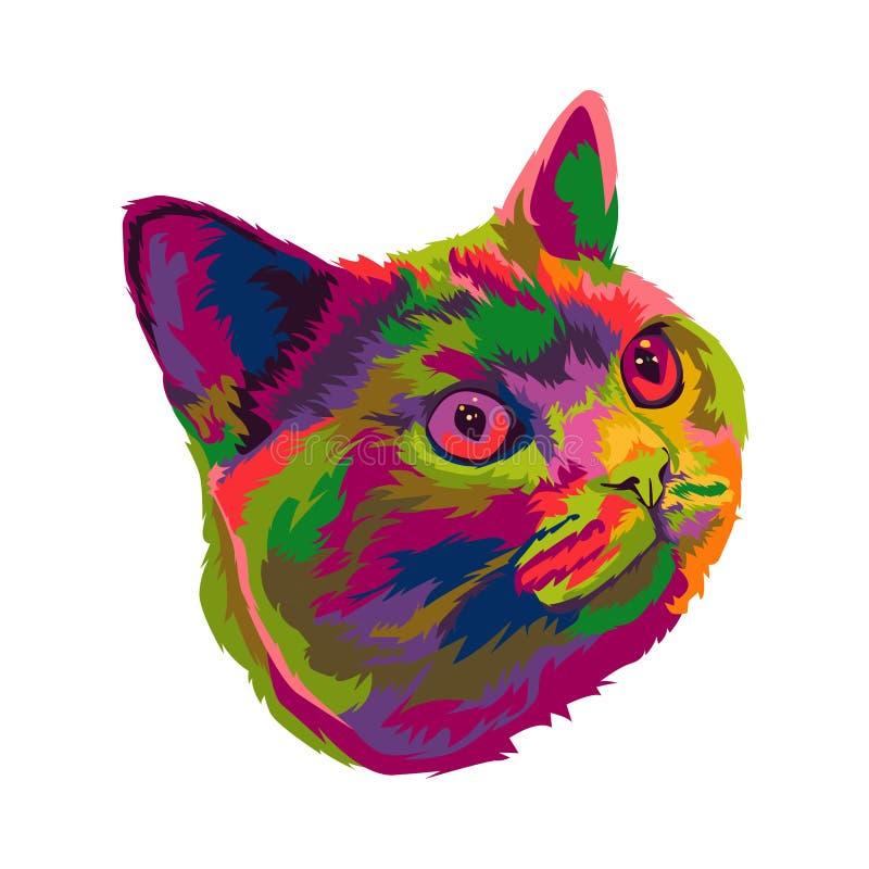 Bunte nette Katzenpop-art lizenzfreies stockfoto