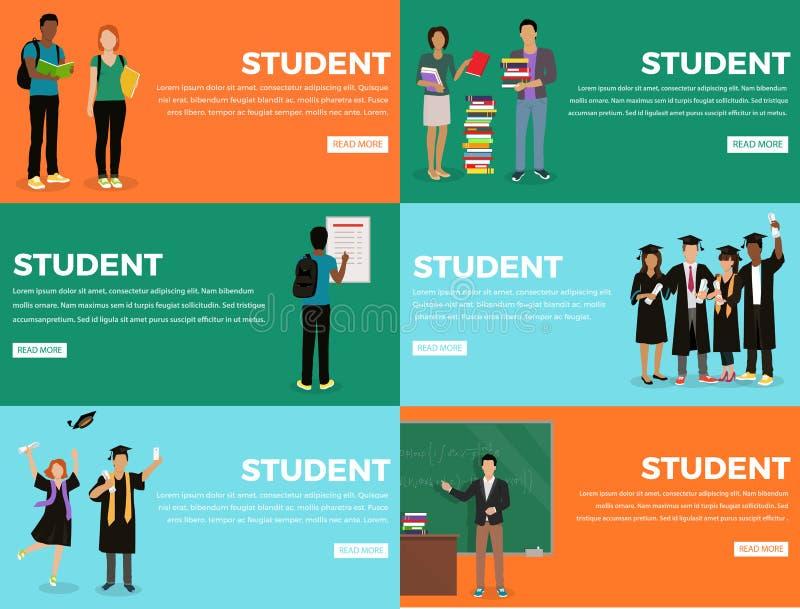 Bunte Netz-Fahne Studenten-Everyday Life Processs stock abbildung