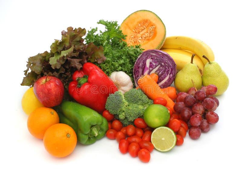 Bunte neue Gruppe Gemüse und Früchte stockfotografie