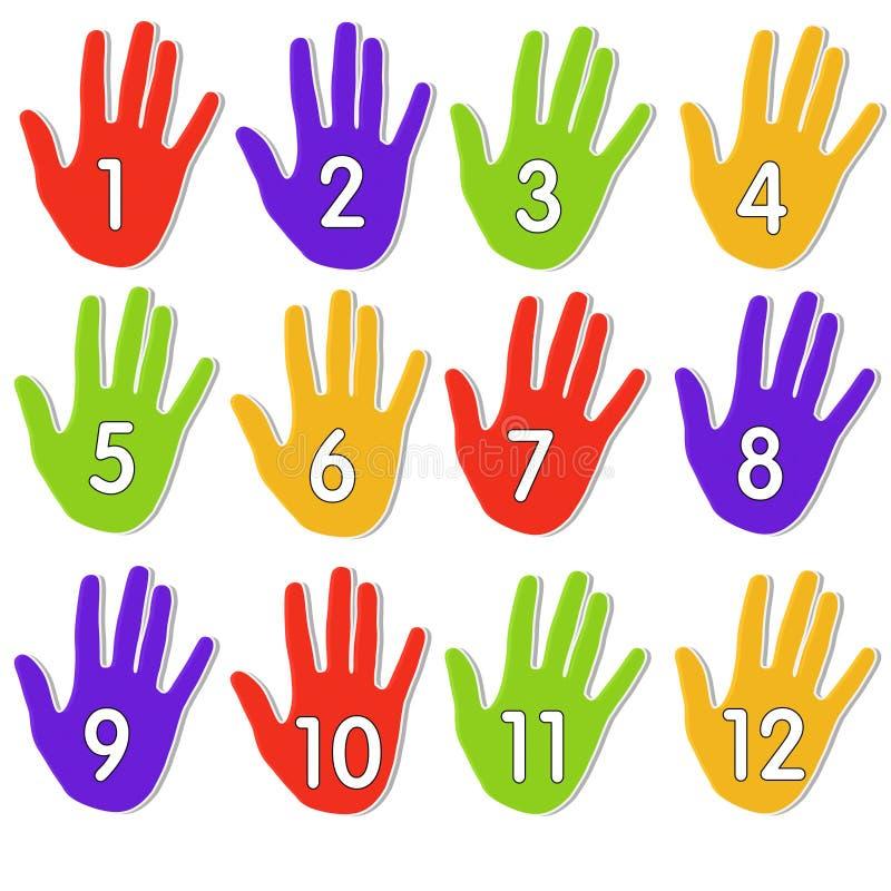 Bunte nummerierte Hände lizenzfreie abbildung