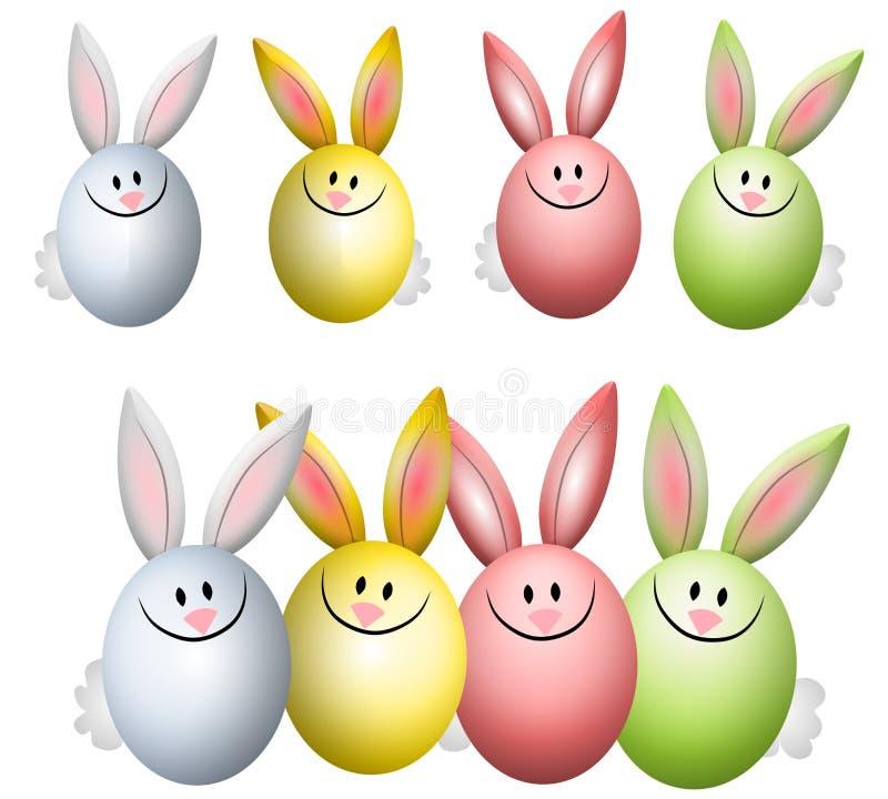 Bunte Osterei-Häschen-Kaninchen