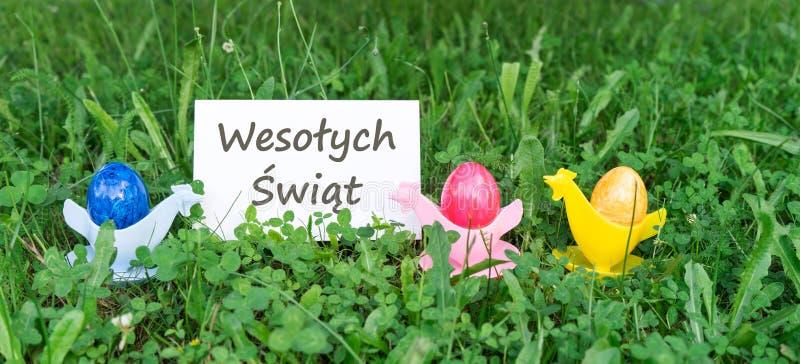 Bunte Ostereier und polnischer Text: fröhliche Ostern lizenzfreies stockbild