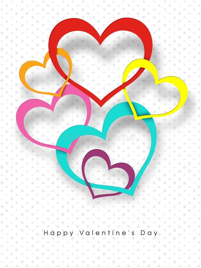 Bunte Papierausschnittart-Herzformen auf punktiertem Hintergrund für glücklichen Valentinstag stock abbildung