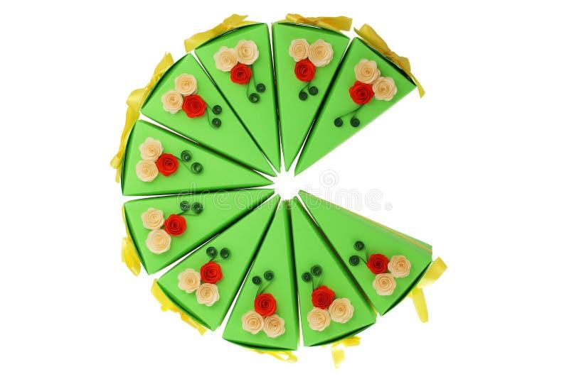 Bunte Papierstücke des Kuchens mit Blumen stock abbildung