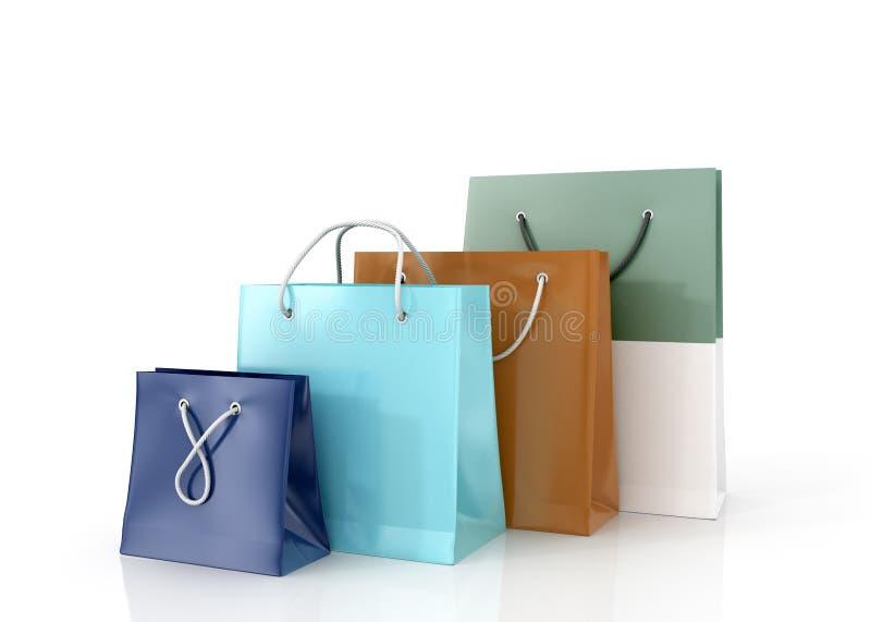 Bunte Papiertüten für den Einkauf lizenzfreie abbildung