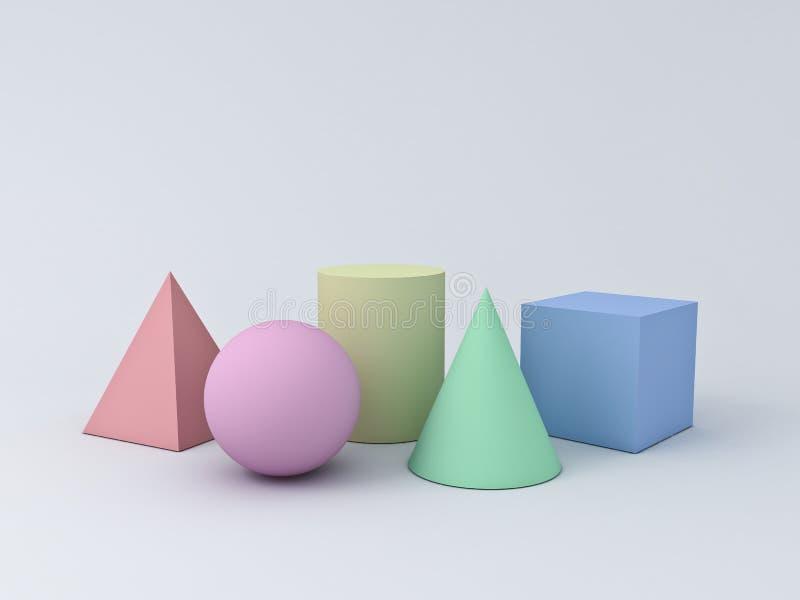 Bunte Pastellgraphik der geometrie-3D formt den Würfel-Pyramiden-Kegel-Zylinder-Bereich, der auf weißem Hintergrund lokalisiert w stock abbildung