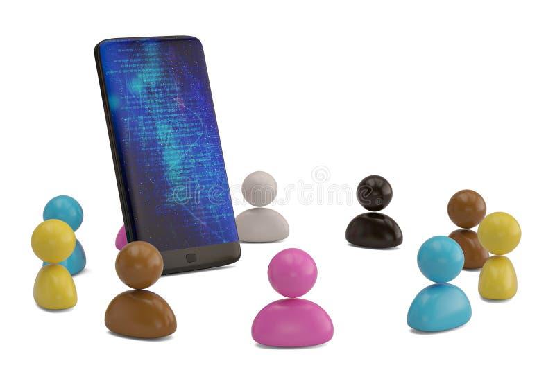 Bunte Personen mit intelligentem Telefon auf weißem Hintergrund illustr 3d vektor abbildung