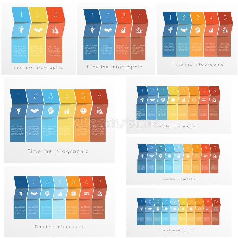 Bunte Pfeile gesetzter Schablonen Zeitachse Infographics stock abbildung