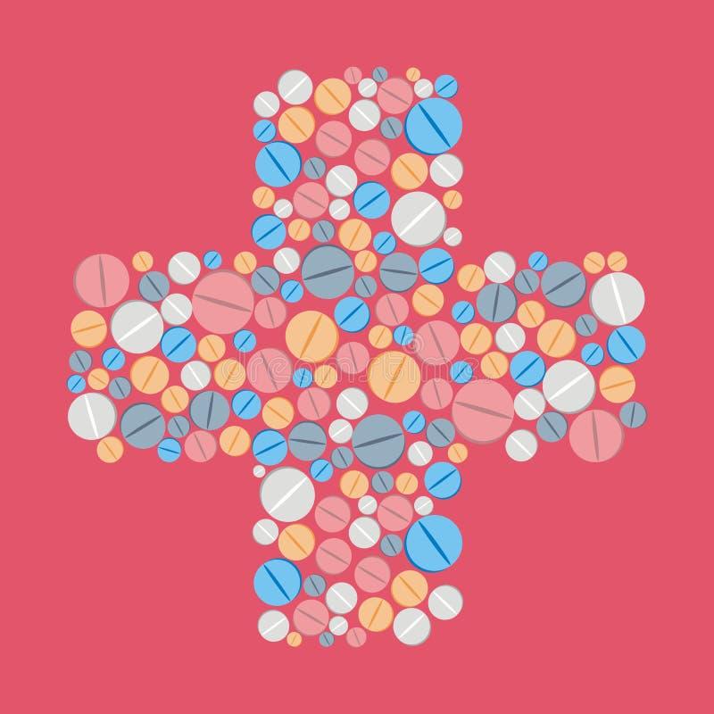 Bunte Pillen tablets Ikonen im Querformhintergrund M vektor abbildung