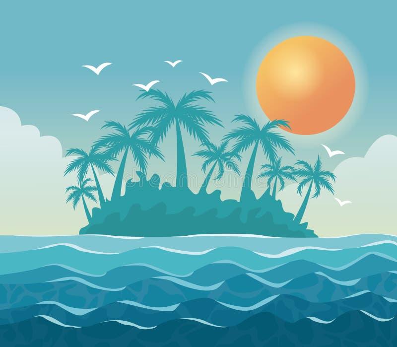 Bunte Plakathimmellandschaft von Palmen auf dem Strand mit Sonne im Himmel vektor abbildung