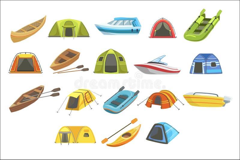 Bunte Planen-Zelte eingestellt von den einfachen kindischen flachen Illustrationen lokalisiert vektor abbildung