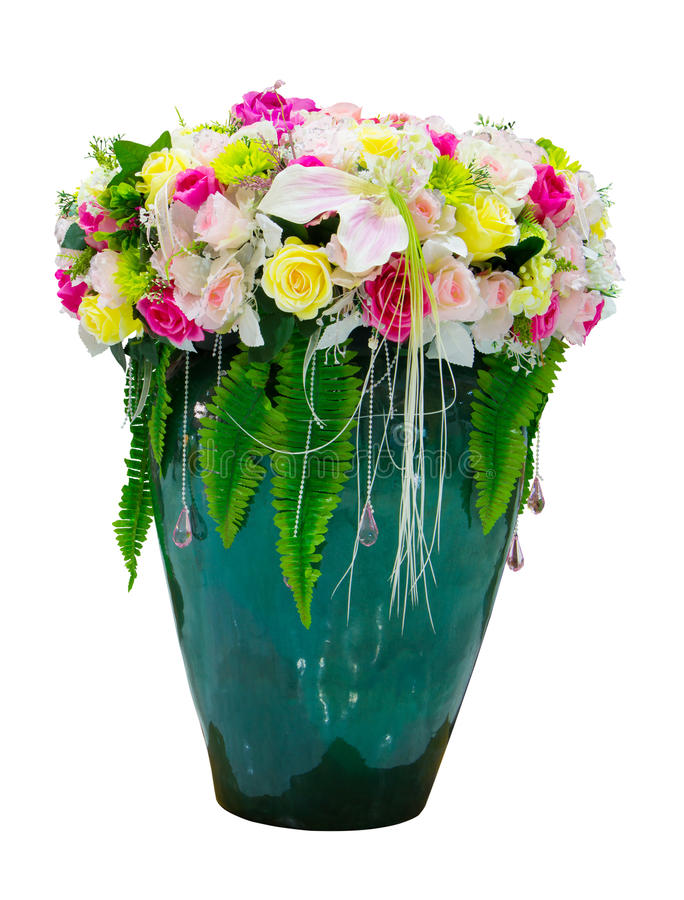 Bunte Plastikblume im Vase lizenzfreies stockfoto