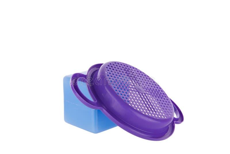 Bunte Plastiksandstrandspielwaren stockfoto