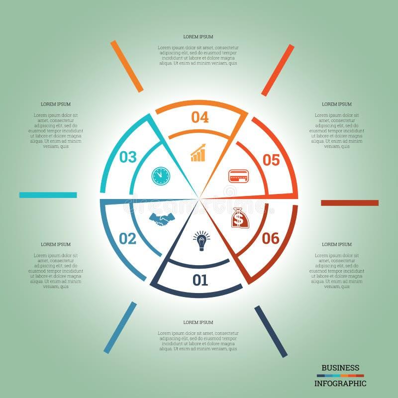 Bunte Positionen des Kreises sechs der Infographic-Kreisdiagramm-Schablone stock abbildung