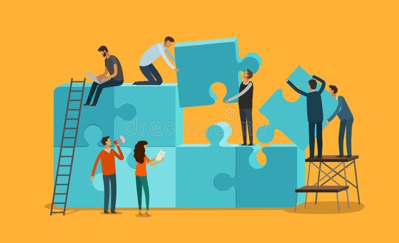 Bunte Puppen auf schwarzem Hintergrund Geschäft, Teamwork infographics Stücke einer Puzzlespielvektorillustration lizenzfreie abbildung
