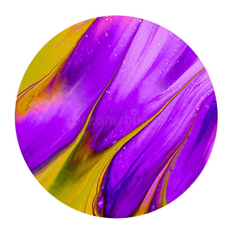 Bunte purpurrote und gelbe Tintenbürste shinny Gestaltungselement stock abbildung