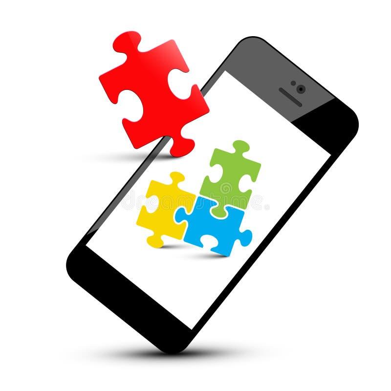 Bunte Puzzlespiel-Stücke auf Smartphone stock abbildung