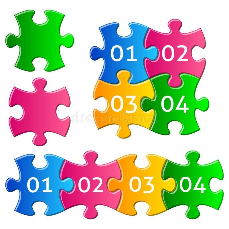 Bunte Puzzlespielstücke lizenzfreie abbildung