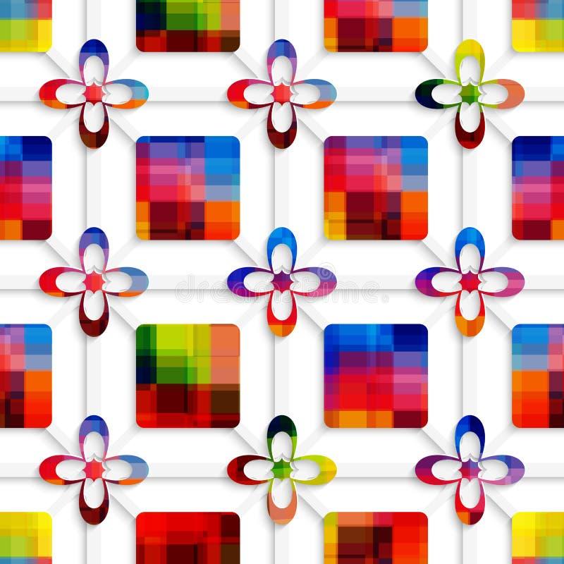 Bunte Quadrate und bunte Blumen auf nahtlosem Nettomuster vektor abbildung