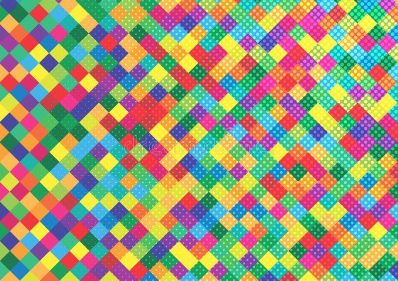 Bunte Quadrate und Halbtonpunkte für geometrischen Muster-Hintergrund lizenzfreie abbildung