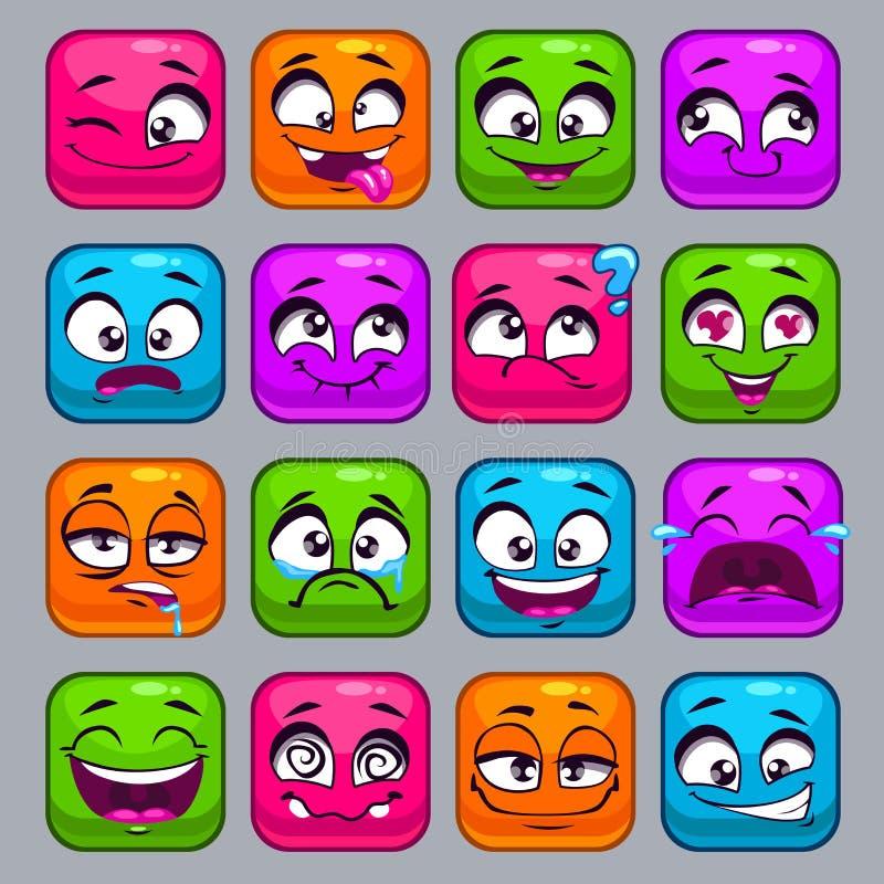 Bunte quadratische Gesichter der lustigen Karikatur vektor abbildung
