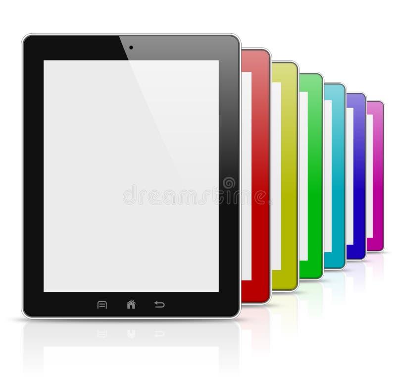 Bunte Regenbogenserie des Tablette-PC stock abbildung