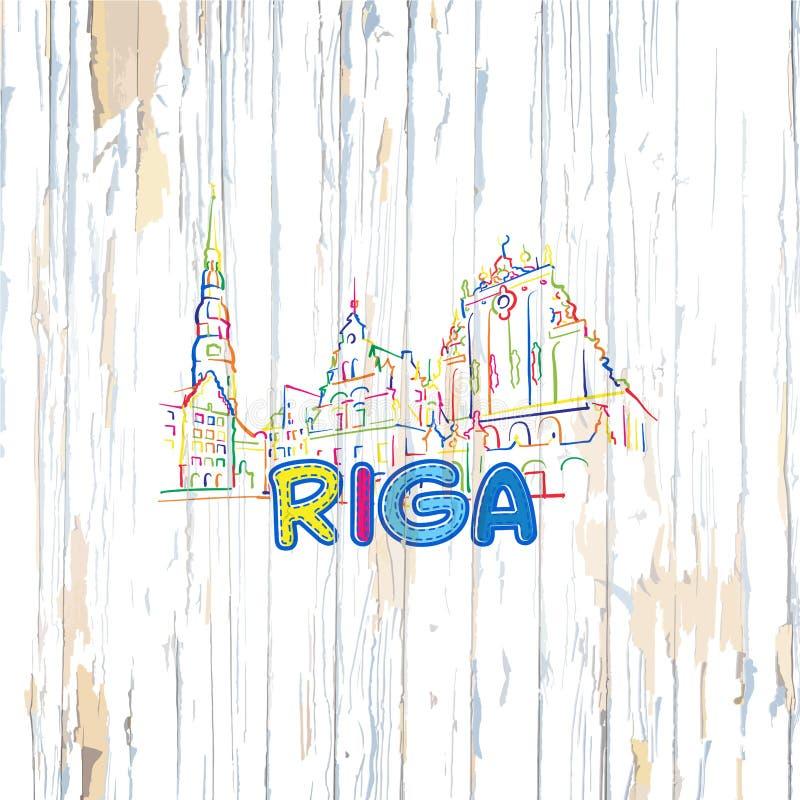Bunte Riga-Zeichnung auf hölzernem Hintergrund vektor abbildung