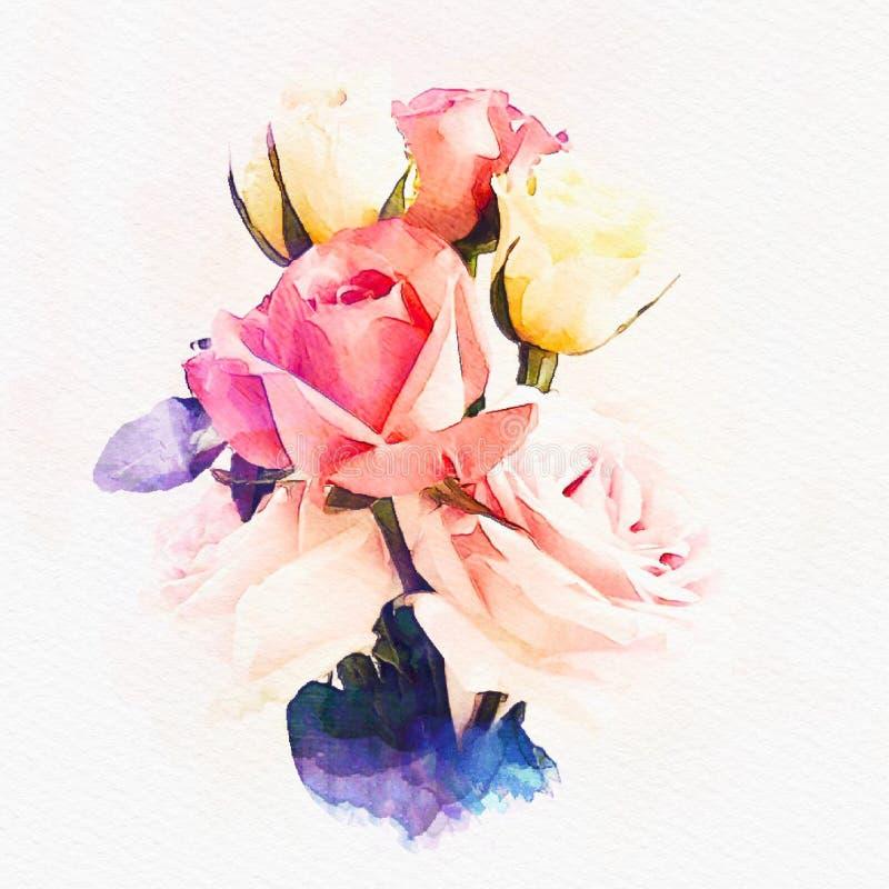 Bunte Rosenaquarell-Malereiillustration stock abbildung