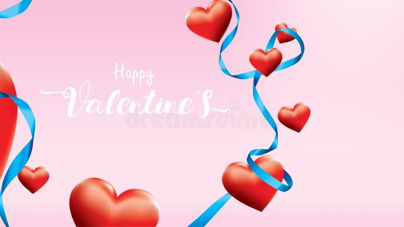 Bunte rote romantische Herzen des Valentinsgruß-3D formen Fliegen und sich hin- und herbewegendes blaues Seidenband auf rosa Hint vektor abbildung