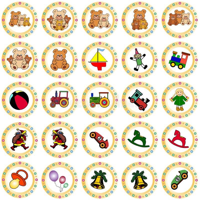 Bunte runde Abzeichen mit Spielwaren lizenzfreie abbildung