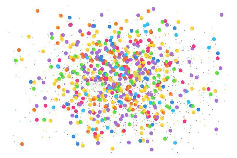 Bunte runde Konfettis spritzen lokalisiert auf weißem Hintergrund lizenzfreie abbildung