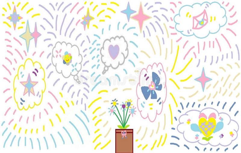 Bunte süße Vielzahl von Spaßthemen, Wolken, Sternillustration vektor abbildung