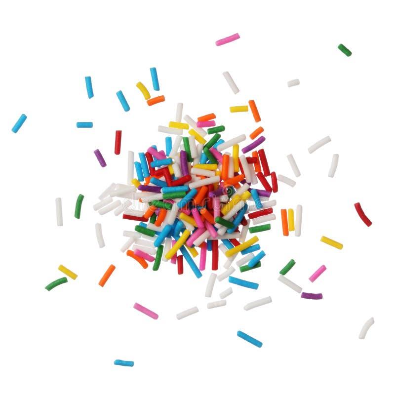 Bunte Süßigkeit spritzt getrennt auf weißem Hintergrund stockbild