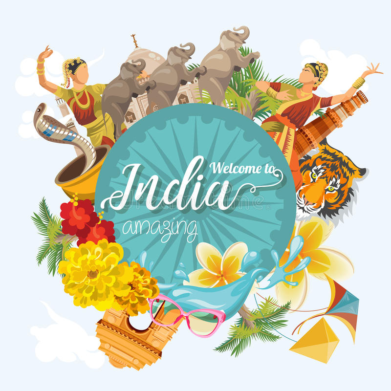 Bunte Schablone der indischen Reise Abbildungvektor und -raster Willkommen zum Überraschen von Indien Ich liebe Indien Vektorabbi stock abbildung