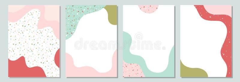 Bunte Schablonen des Frühlinges mit flüssigen Formen und Terrazzobeschaffenheit stock abbildung
