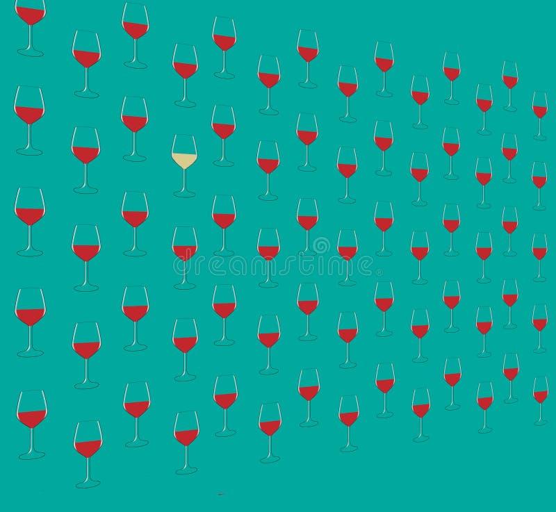 Bunte Schattenbilder von Weinflaschen werden mit einem Glas Wein gesehen Gedämpfte Farben lizenzfreie abbildung