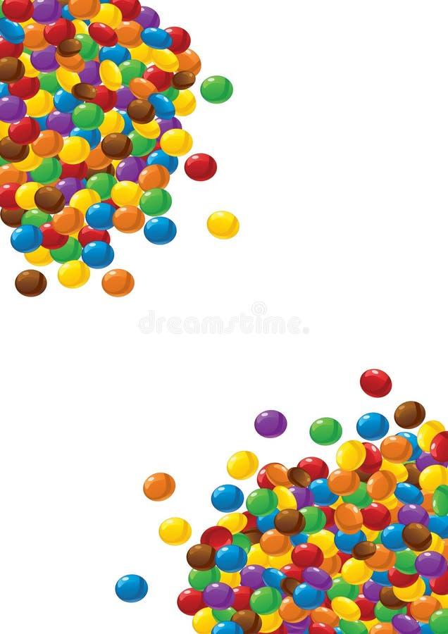 Bunte Schokoladensüßigkeiten auf Weiß lizenzfreie abbildung