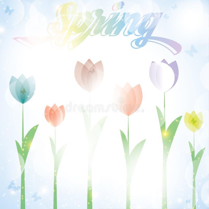 Bunte Sommerfrühlings-Hintergrundfahne mit Tulpe blüht stock abbildung