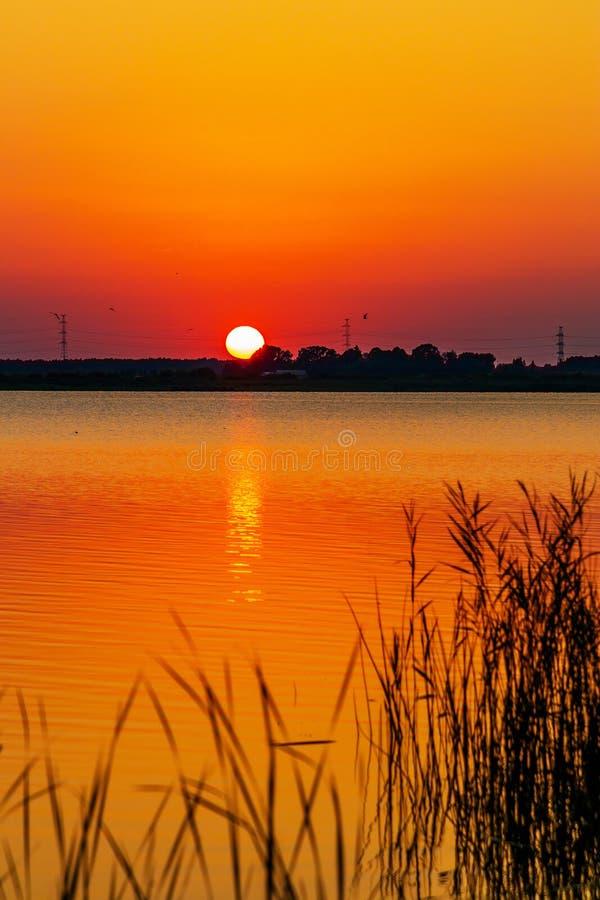 Bunte Sonnenbarken über See lizenzfreie stockbilder