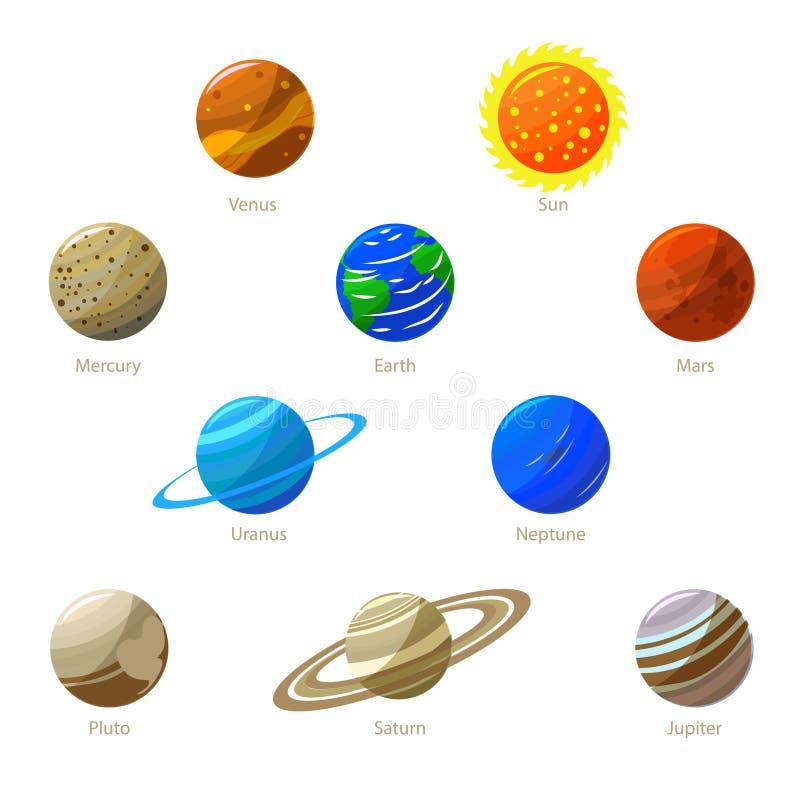 Bunte Sonnensystem Planeten und Sun Vektor vektor abbildung