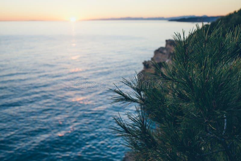 Bunte Sonnenunterganglandschaft des Sommers auf dem Meer Weiche und warme Atmosphäre, selektiver Fokus lizenzfreie stockfotografie