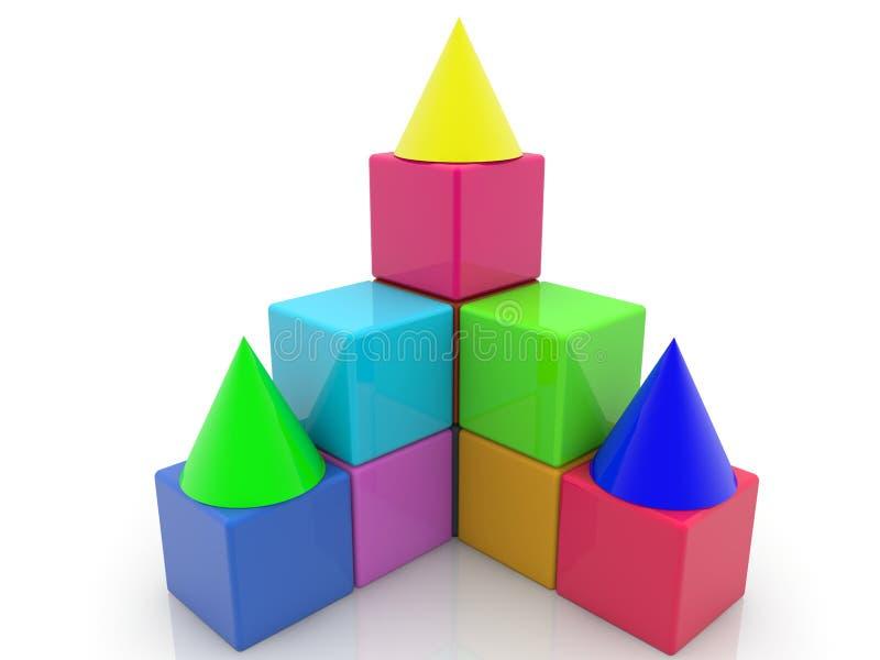 Bunte Spielzeugwürfel mit Dächern vektor abbildung