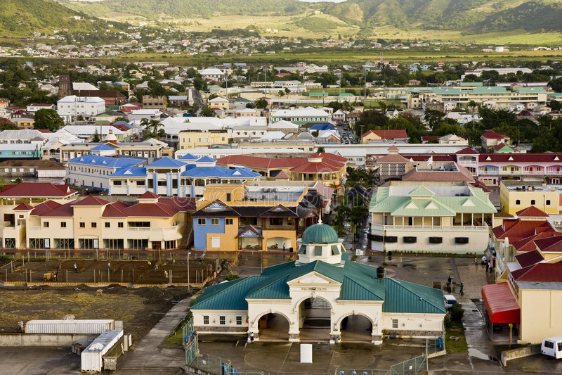 Bunte Stadt Str.-Kitts stockbild