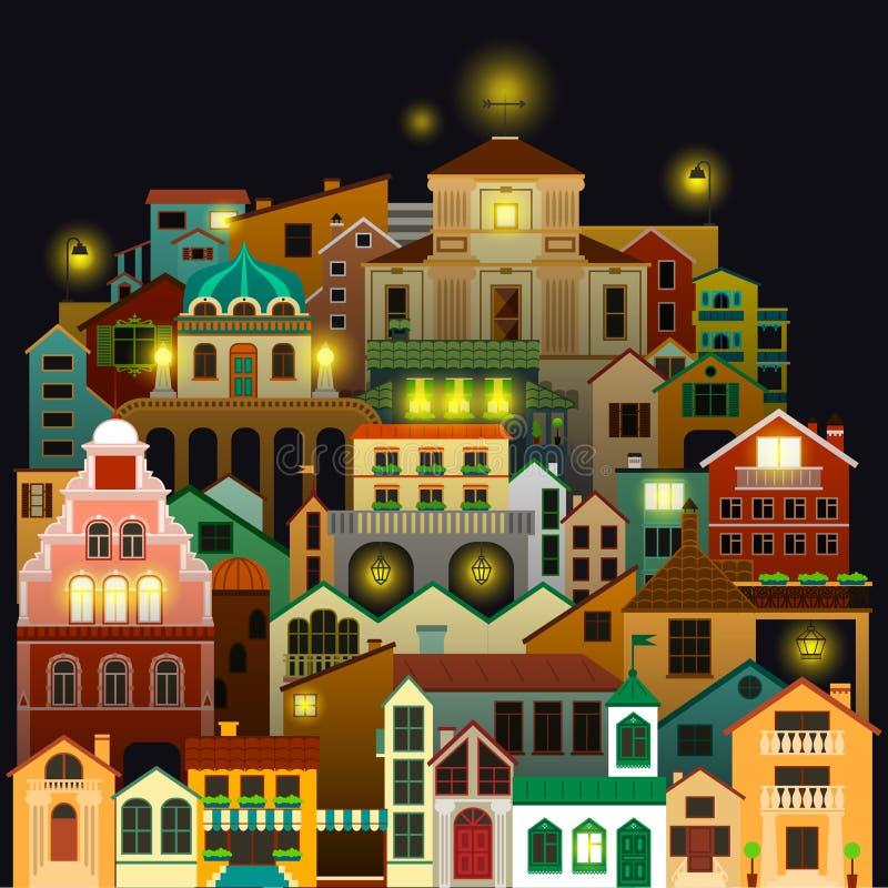 Bunte Stadtgebäude nachts Vektorstadtbildzeichnung stock abbildung